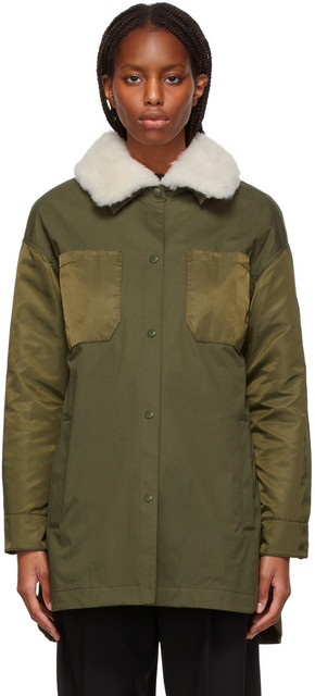 Yves Salomon - Army Khaki & White Shearling Coat in green / ivory
