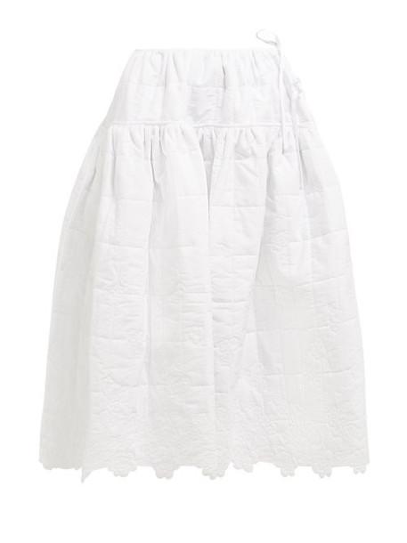 Cecilie Bahnsen - Rosie Quilted Cotton Midi Skirt - Womens - White