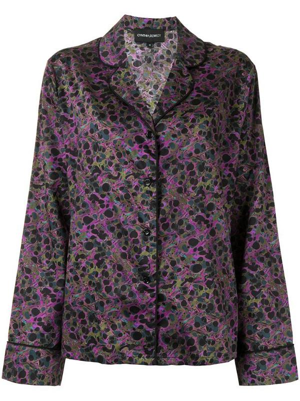 Cynthia Rowley marble-print pyjama shirt in purple