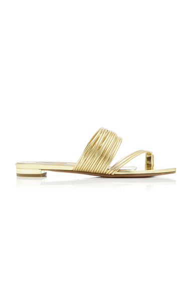 Aquazzura Sunny Metallic Leather Sandals in gold