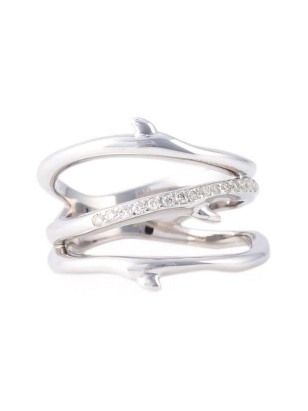 Shaun Leane sterling silver Cherry Blossom 3 branch diamond ring in metallic