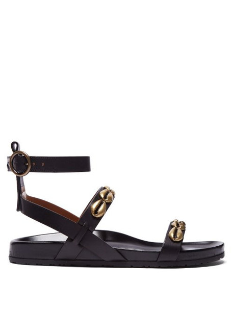 Etro - Shell Studded Leather Sandals - Womens - Black