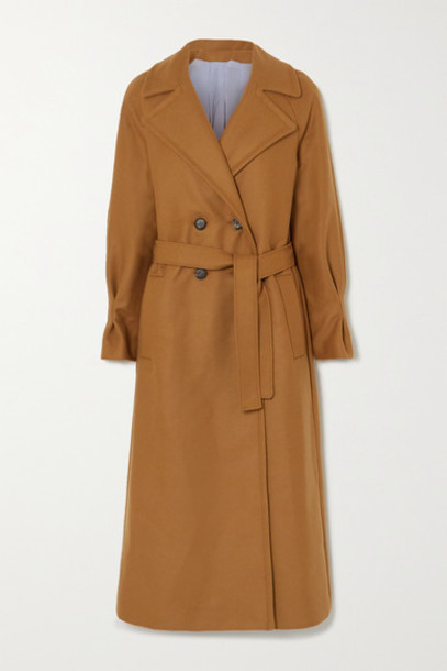 YOOX NET-A-PORTER For The Prince's Foundation - Belted Double-breasted Merino Wool And Cashmere-blend Coat - Camel