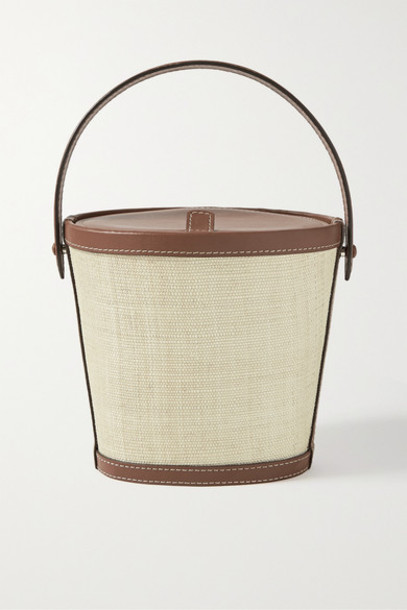 Hunting Season - Leather-trimmed Raffia Tote - Light brown