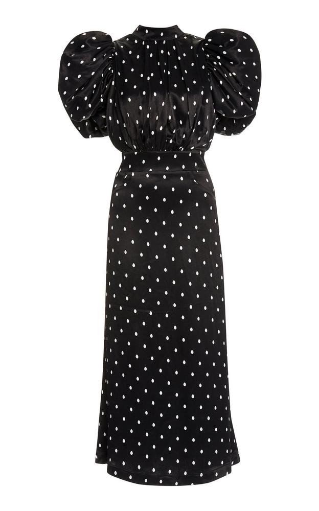 ROTATE Dawn Polka-Dot Satin Puff-Sleeve Midi Dress in black