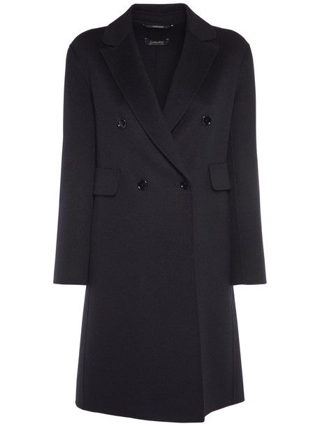 'S MAX MARA Double Breasted Pure Wool Coat in black