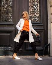 sweater,sweatshirt,black pants,cargo pants,white blazer,double breasted,mango,mules,black bag
