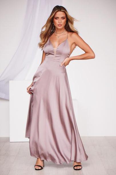 dress formal dress maxi dress prom dress homecoming dress taupe cut-out side split maxi dress