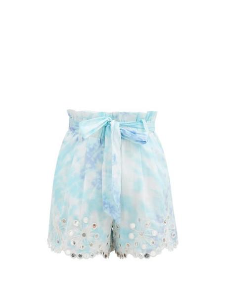 Juliet Dunn - Sequinned Paperbag-waist Tie-dye Cotton Shorts - Womens - Blue White