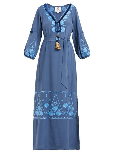 Figue - Lola Floral Embroidered Silk Crepe Dress - Womens - Blue Print