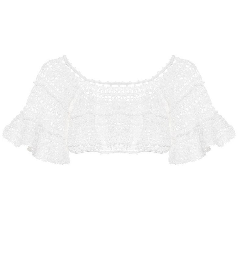 Anna Kosturova Jocelyn crochet cotton crop top in white