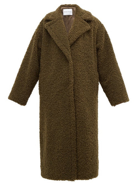 Stand Studio - Lisbeth Single Breasted Faux Shearling Teddy Coat - Womens - Khaki