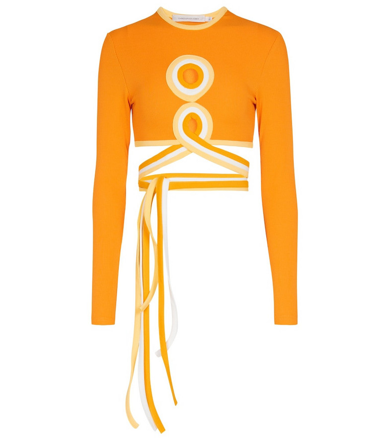 CHRISTOPHER ESBER Tie-waist crop top in orange