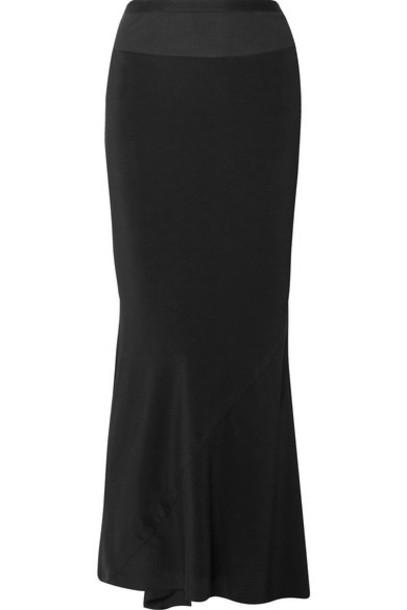 Rick Owens - Ribbed Knit-trimmed Crepe De Chine Maxi Skirt - Black