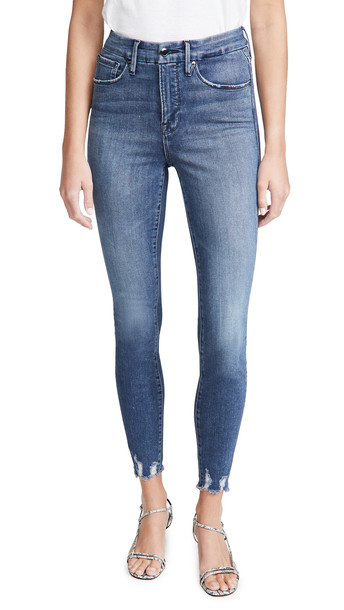 Good American Good Waist With Chewed Hem Jeans in blue