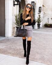 skirt,mini skirt,suede skirt,grey skirt,over the knee boots,black boots,handbag,black bodysuit,bag,black bag