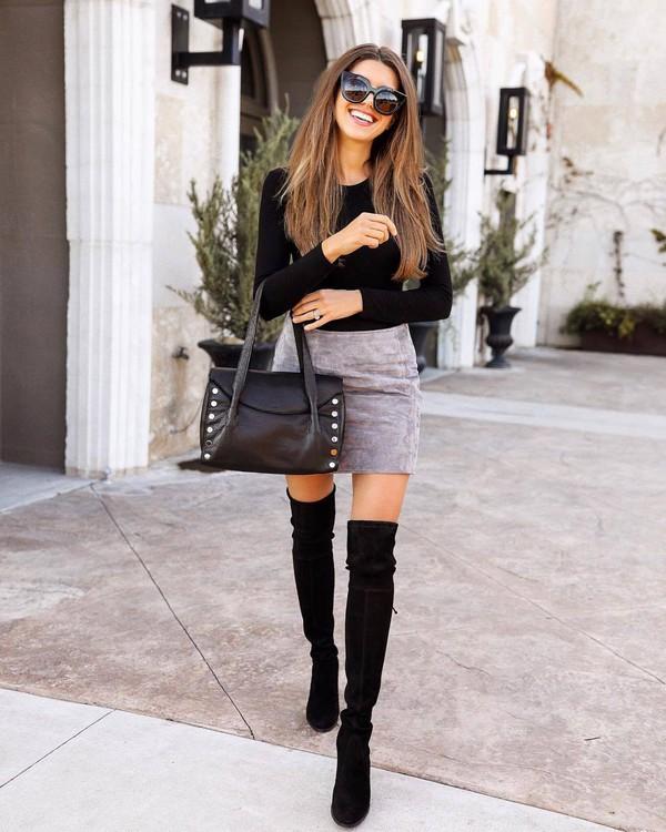 skirt mini skirt suede skirt grey skirt over the knee boots black boots handbag black bodysuit bag black bag