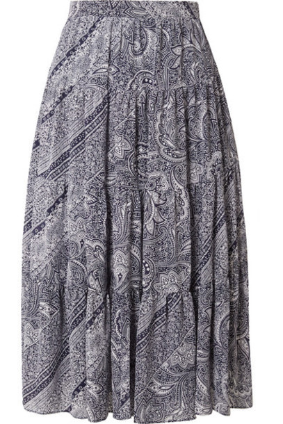 MICHAEL Michael Kors - Pleated Printed Crepe Skirt - Blue