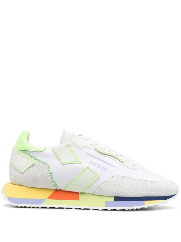 Ghoud colour-block lace-up trainers in white