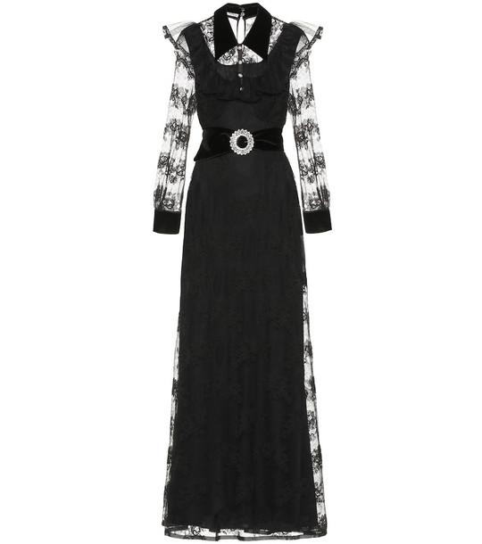 Miu Miu Embellished velvet-trimmed lace gown in black