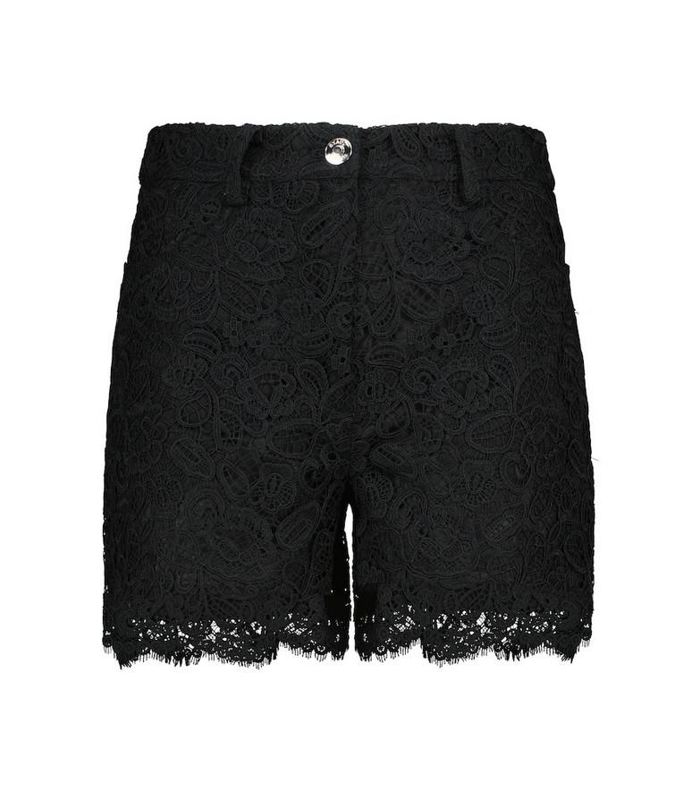 Staud Lena lace cotton shorts in black