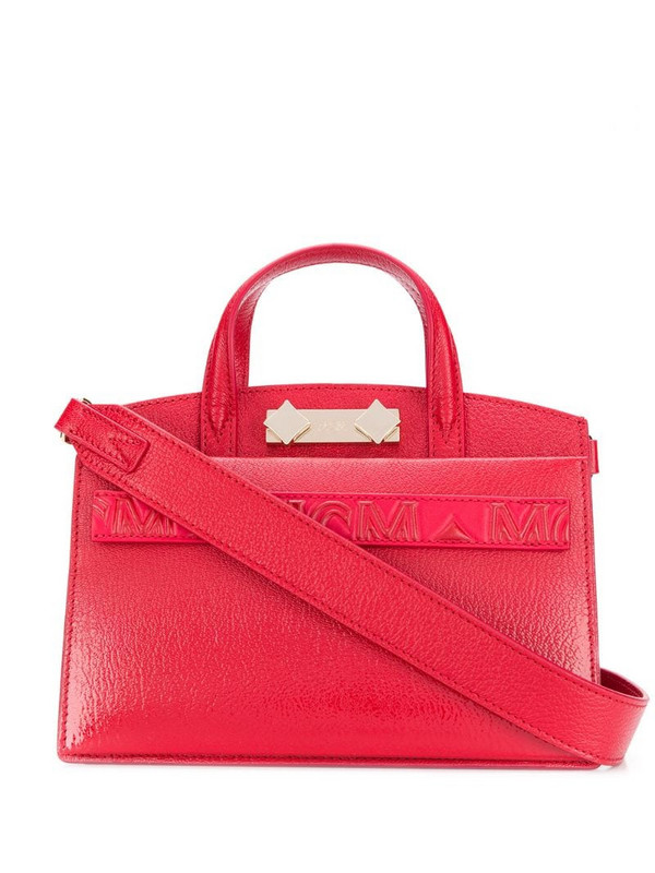 MCM repeat logo tote bag in red