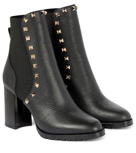 Valentino Garavani Rockstud 90 leather ankle boots in black