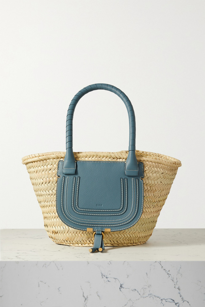 CHLOÉ CHLOÉ - Marcie Textured Leather-trimmed Raffia Tote - Blue