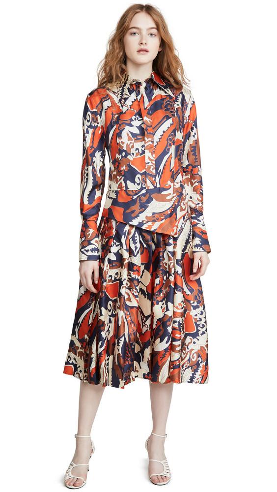 Victoria Beckham Pleated Shirtdress in navy / orange