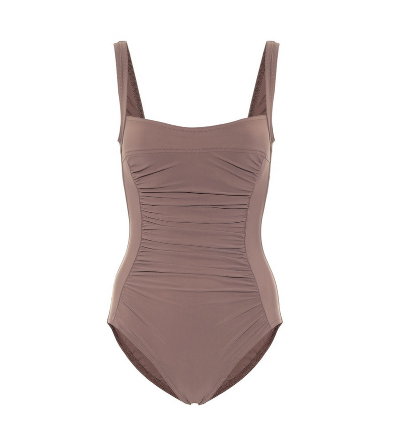 Karla Colletto Basics ruched swimsuit in brown