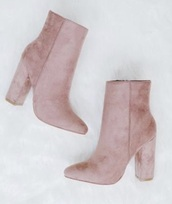 shoes,pink,pink boots,suede,heel boots