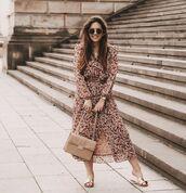 dress,floral dress,midi dress,slide shoes,bag