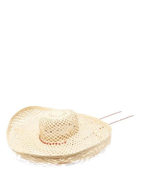 Maison Michel - Brigite Chain-trimmed Straw Hat - Womens - Beige
