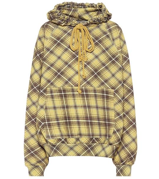 Dries Van Noten Checked cotton hoodie in yellow