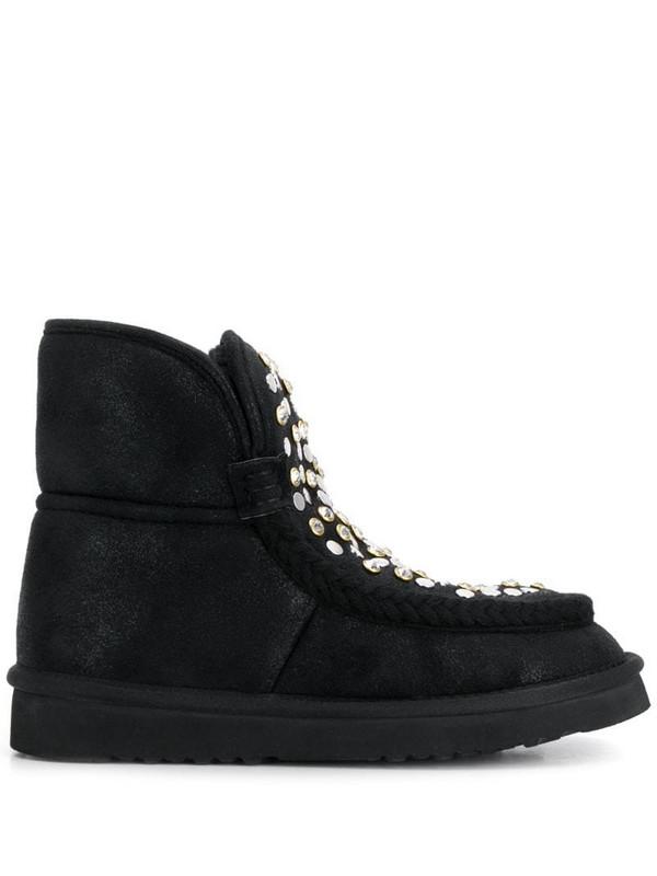 Tosca Blu flat embellished boots in black