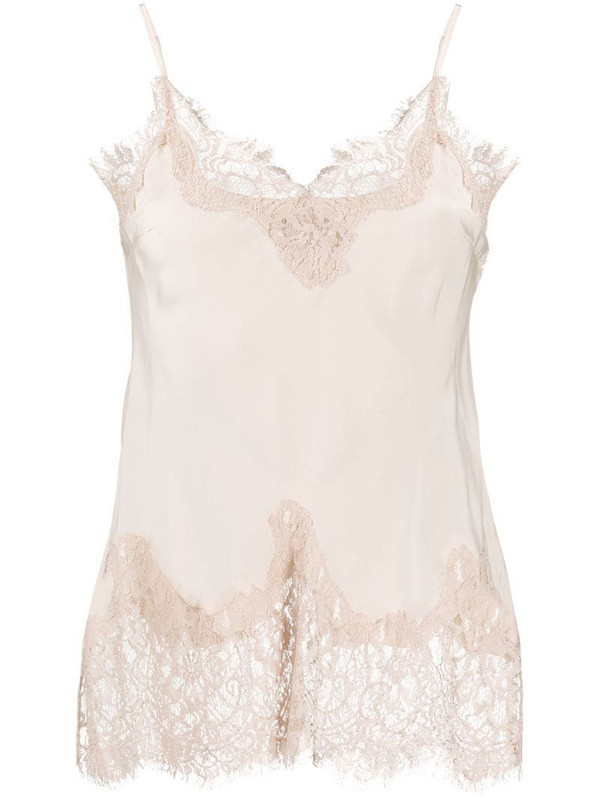 Gold Hawk lace-embellished slip top in neutrals