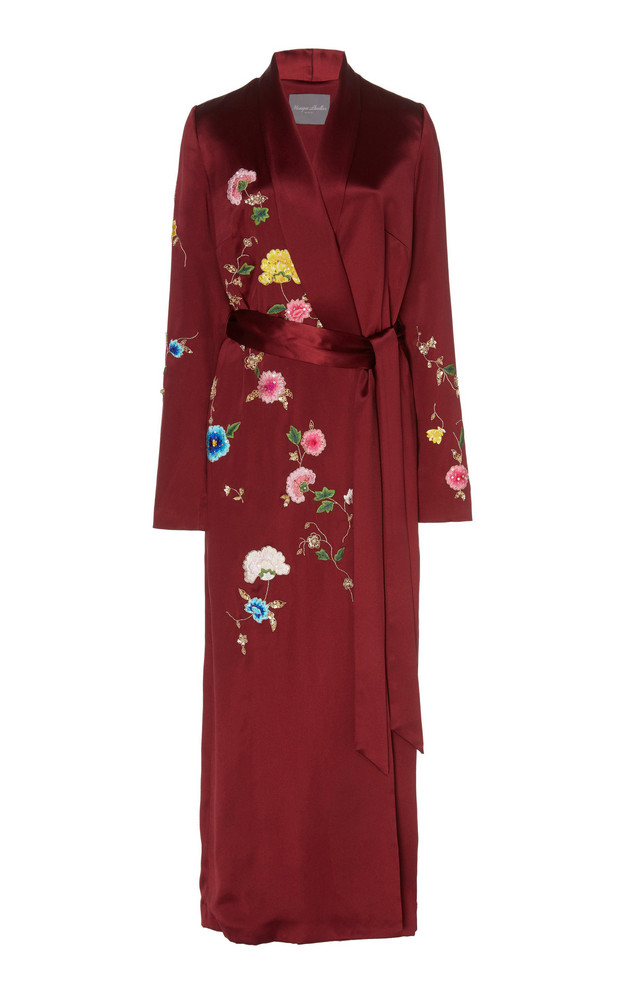 Monique Lhuillier Floral Embroidered Crepe Wrap Dress in burgundy