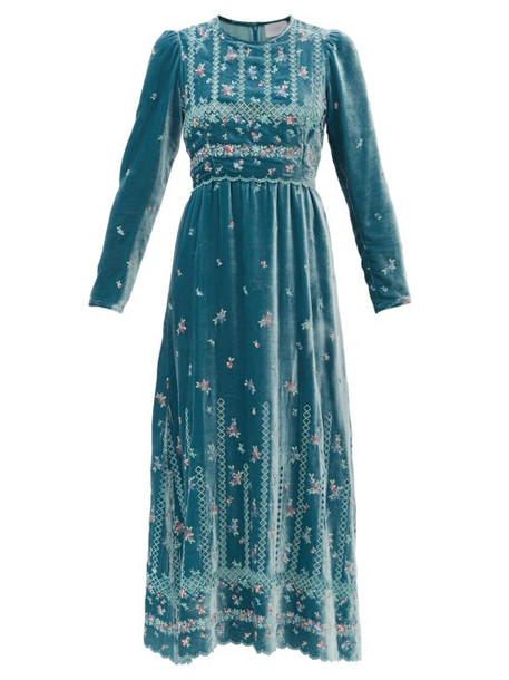 Luisa Beccaria - Floral Embroidered Velvet Gown - Womens - Light Blue