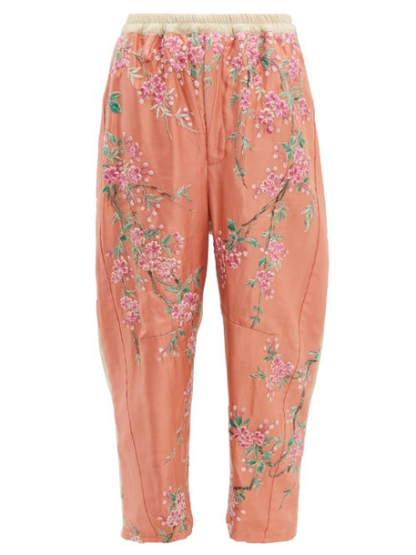 By Walid - Jay 19th Century Kimono Silk Trousers - Womens - Pink Multi