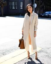 bag,brown bag,leather bag,fendi,pumps,long coat,white pants,wide-leg pants,high wasited pants,shirt