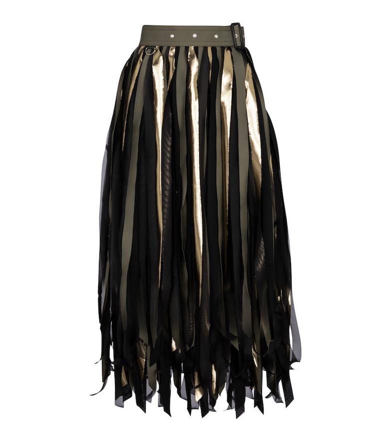 Sacai High-rise cotton-blend midi skirt in black