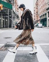 shoes,white boots,lace up boots,leopard print,midi skirt,faux fur coat,brown coat,white hoodie,headband