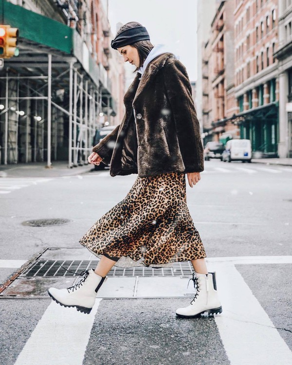shoes white boots lace up boots leopard print midi skirt faux fur coat brown coat white hoodie headband