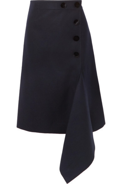Sacai - Melton Asymmetric Button-embellished Wool Skirt - Navy