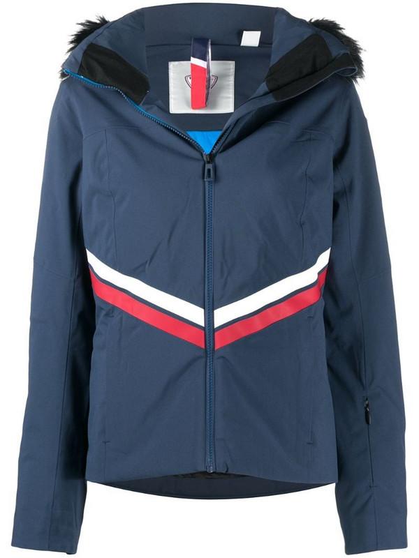Rossignol faux fur-trimmed ski jacket in blue