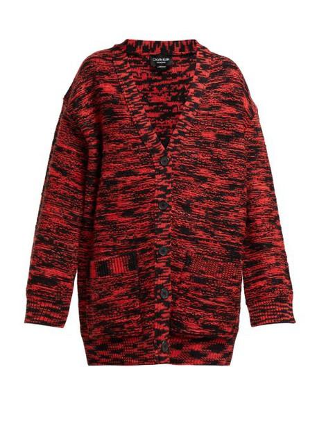 Calvin Klein 205w39nyc - Oversized Space Dye Wool Cardigan - Womens - Black Red