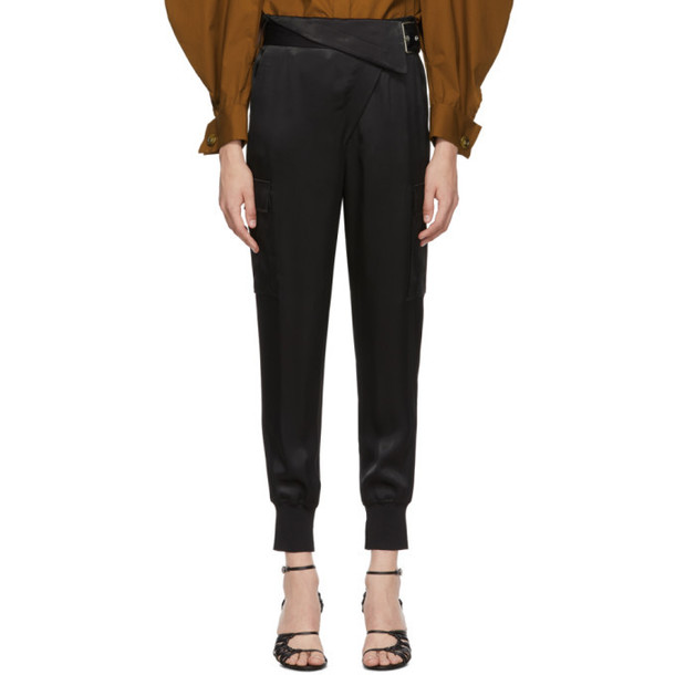 3.1 Phillip Lim Black Satin Cargo Trousers