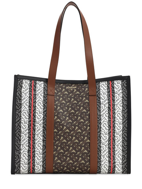 BURBERRY Sm Book Monogram & Canvas Tote Bag in brown