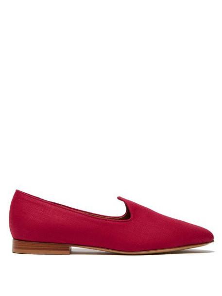 Le Monde Beryl - Venetian Linen Slipper Shoes - Womens - Red
