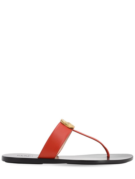 GUCCI 10mm Gg Marmont Leather Thong Flats in orange